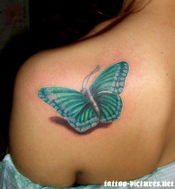 Back Shoulder Tattoo Amazing 3D Butterfly Tattoo On Left Ideas And Designs