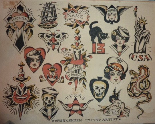 Original Owen Jensen 1940'S Traditional Tattoo Flash Ideas And Designs