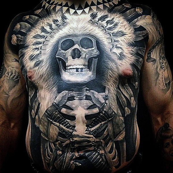 Skeleton Indian Full Stomach Tattoos For Men Cool Ideas And Designs