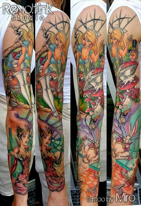 Pin Up Alice In Wonderland Sleeve Love It Tattoos Ideas And Designs