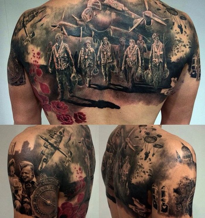 World War 2 Back Tattoo Http Tattooideas247 Com Ww2 Ideas And Designs