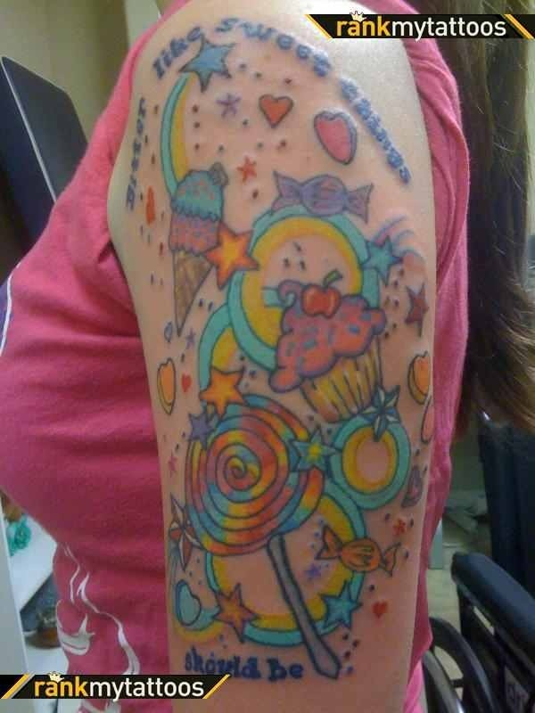 Candy Sleeve Tattoo Tattoo Pinterest Sleeve Love Ideas And Designs