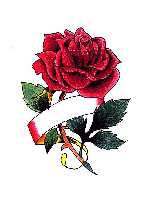 Rose Tattoos With 5 Ribbons Red Rose With Ribbon For Ideas And Designs