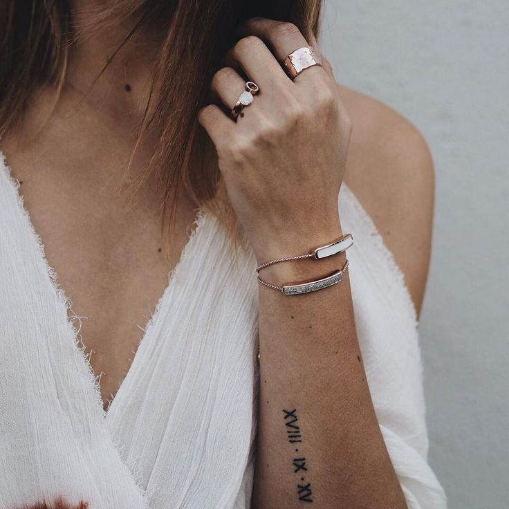 Small Arm Tattoo Roman Numerals Wedding Date Rose Gold Ideas And Designs