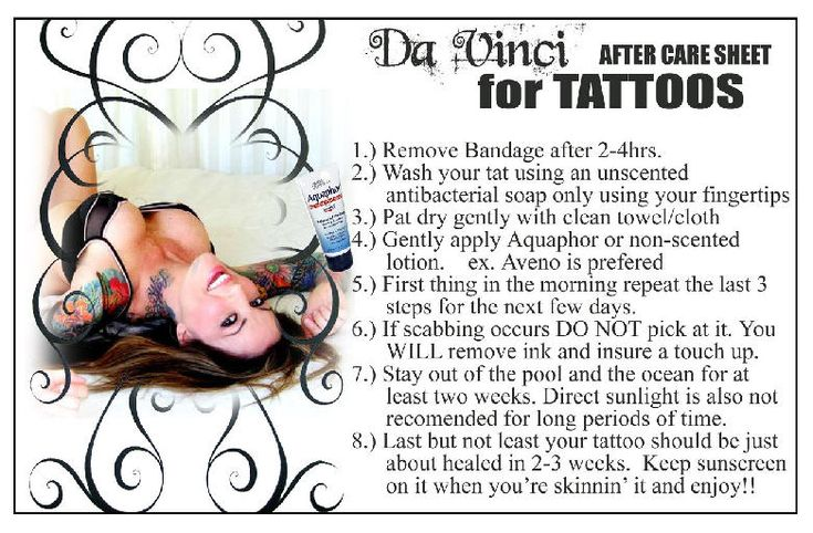 Tattoo Aftercare Instruction Sheet Tattoo Aftercare Ideas And Designs