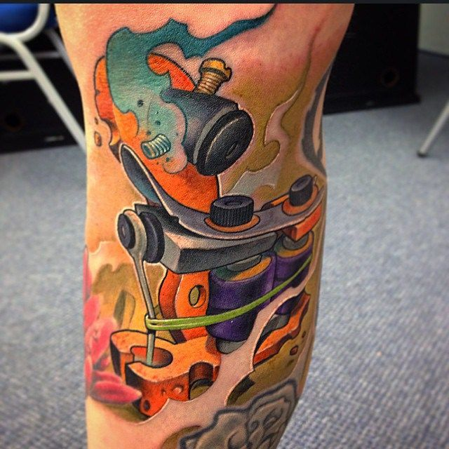 New School Tattoo Machine Tattoo By Victor Chil Ideas And Designs