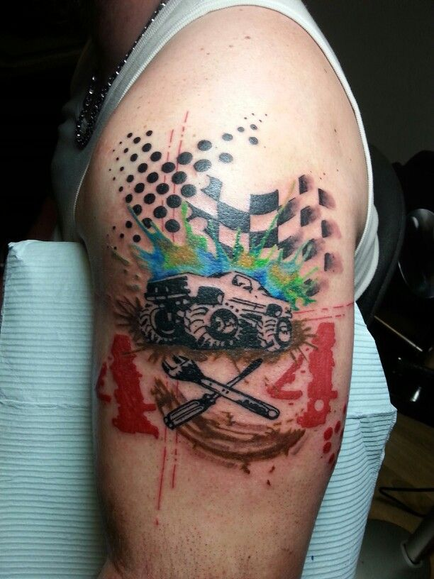 Mud Bogging 4X4 Abstract Half Sleeve With Ink Blots Tattoo Ideas And Designs