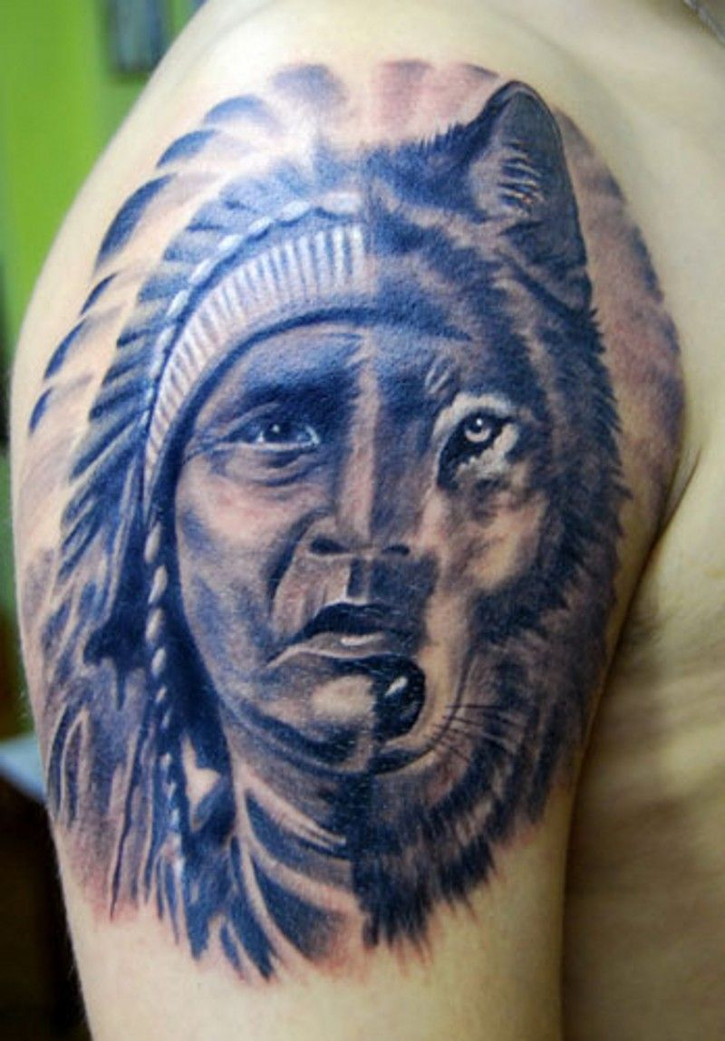 Half Face Of Native American Man Half Wolf Tattoo On Ideas And Designs