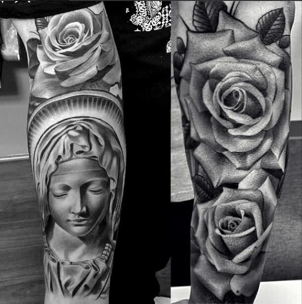 3D Black And White Rose Tattoo Designs 38 Awesome Saint Ideas And Designs