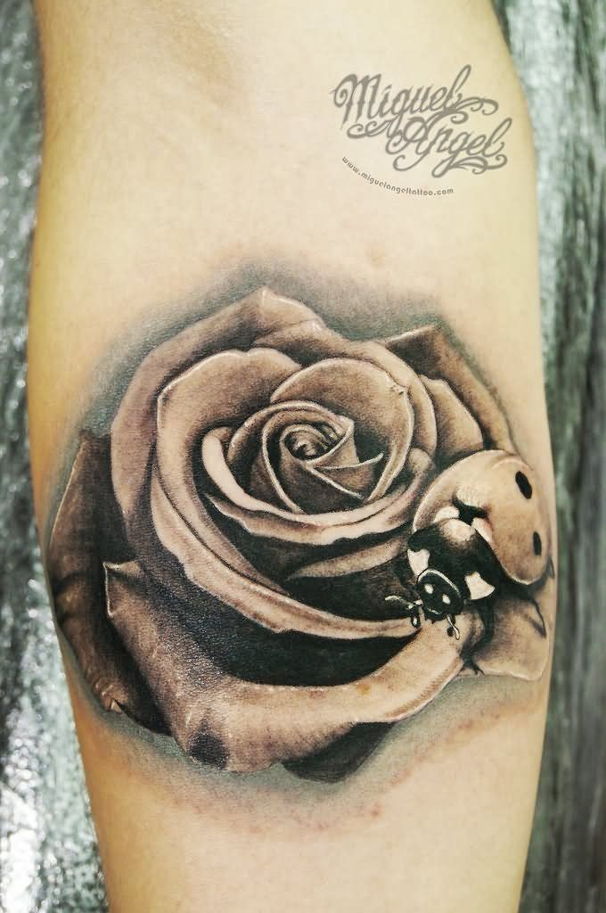 Black And Grey 3D Ladybird On Rose Tattoo On Forearm Jpg Ideas And Designs