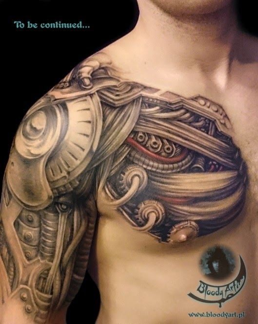 Biomechanical Tattoo Over Shoulder Google Search Ideas And Designs