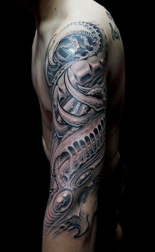 Grey Ink Biomechanical Optical Illusion Tattoo On Half Ideas And Designs