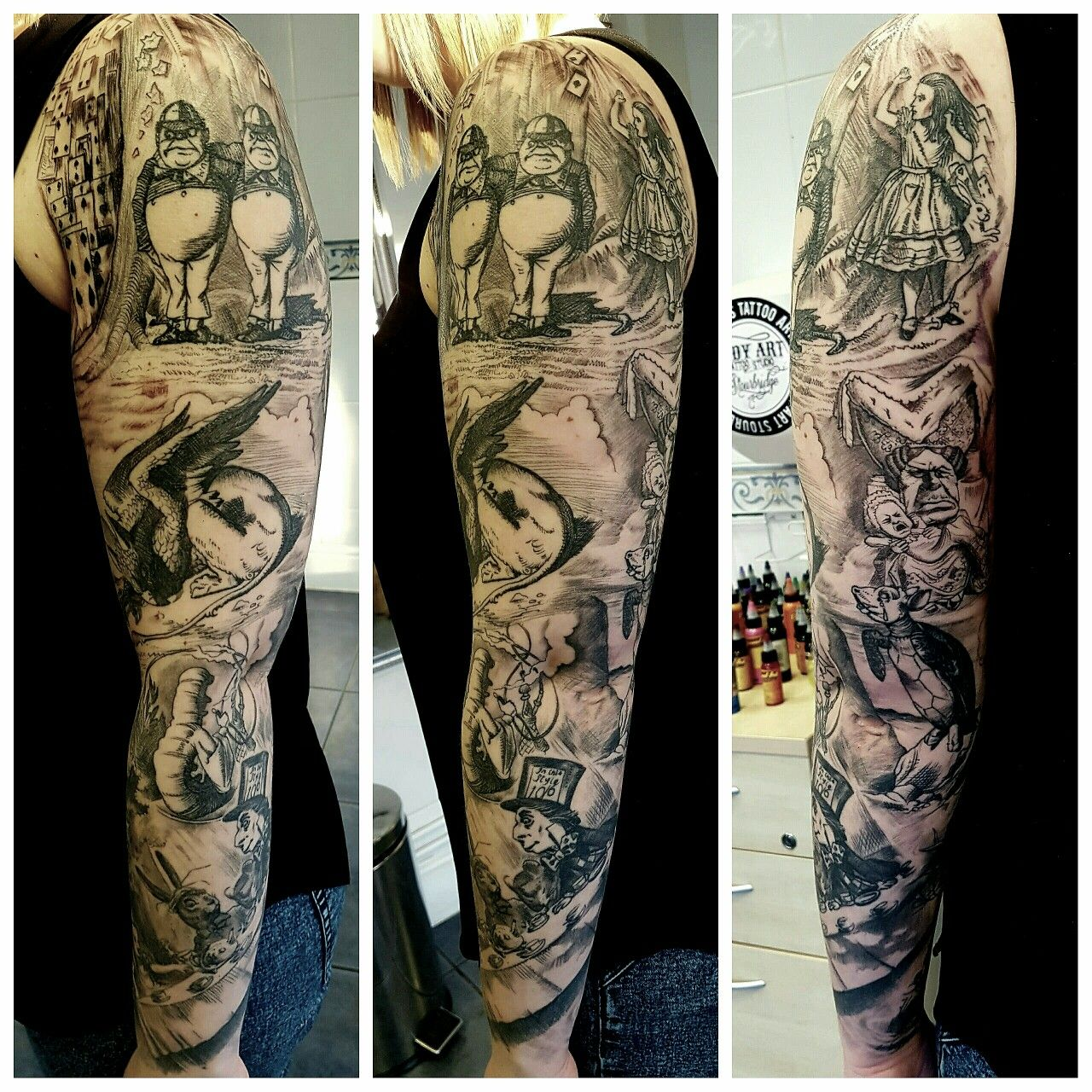 Alice In Wonderland Tattoo Sleeve Malice In Wonderland Ideas And Designs