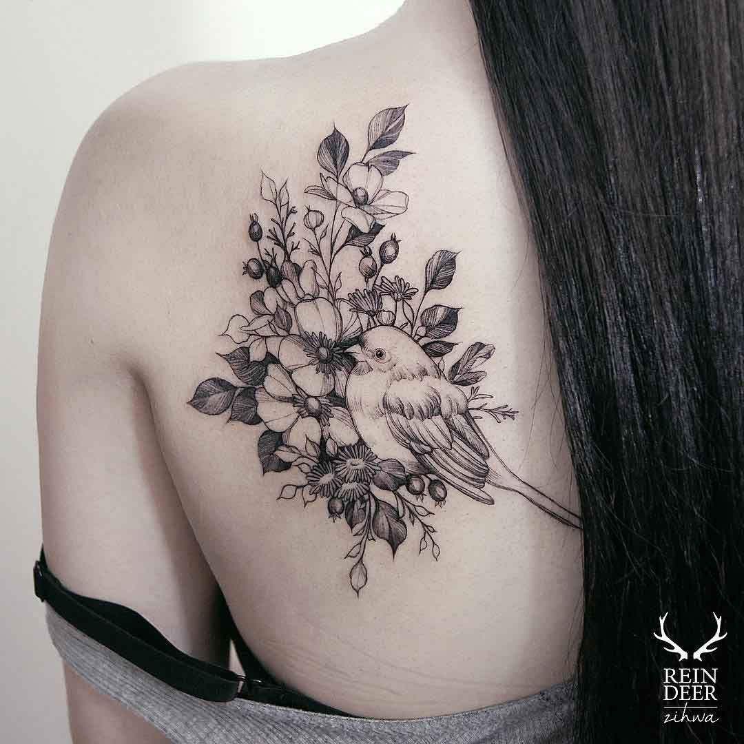 Flowers And Bird Tattoo On Shoulder Blade For Girls Body Ideas And Designs