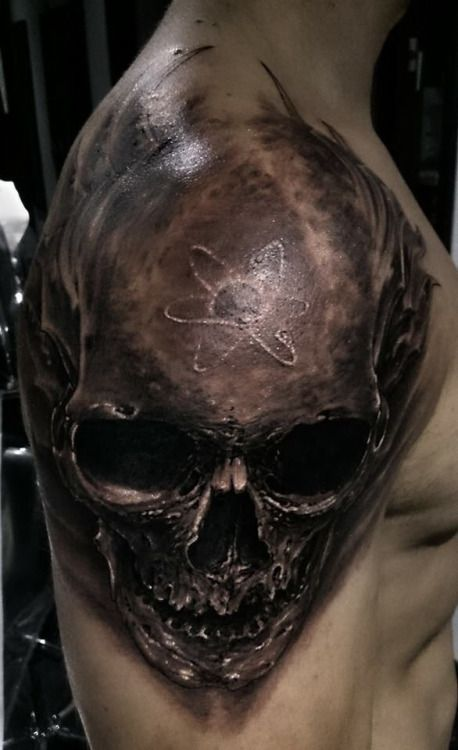 3D Skull Tattoo On Shoulder Skull Tattoos Pinterest Ideas And Designs