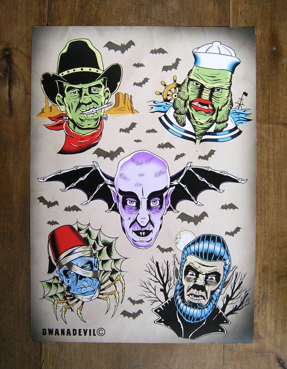 Classic Monsters Tattoo Flash Print Frankenstein By Ideas And Designs