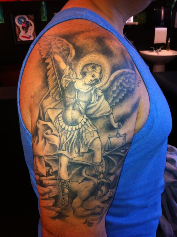 St Michael Tattoo Big Deluxe Tattoo In Las Vegas Ideas And Designs