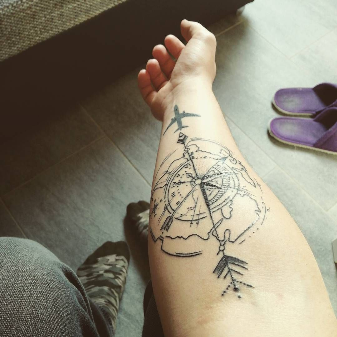 Adventure Tattoo In Bold Black Lines Travel Tattoos Ideas And Designs