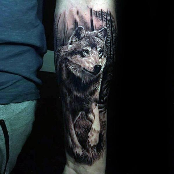 Incredible Realistic Walking Wolf Mens Inner Forearm 3D Ideas And Designs