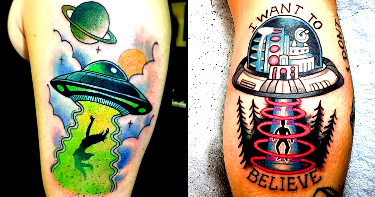 10 Freaky Alien Abduction Tattoos Tattoodo Ideas And Designs