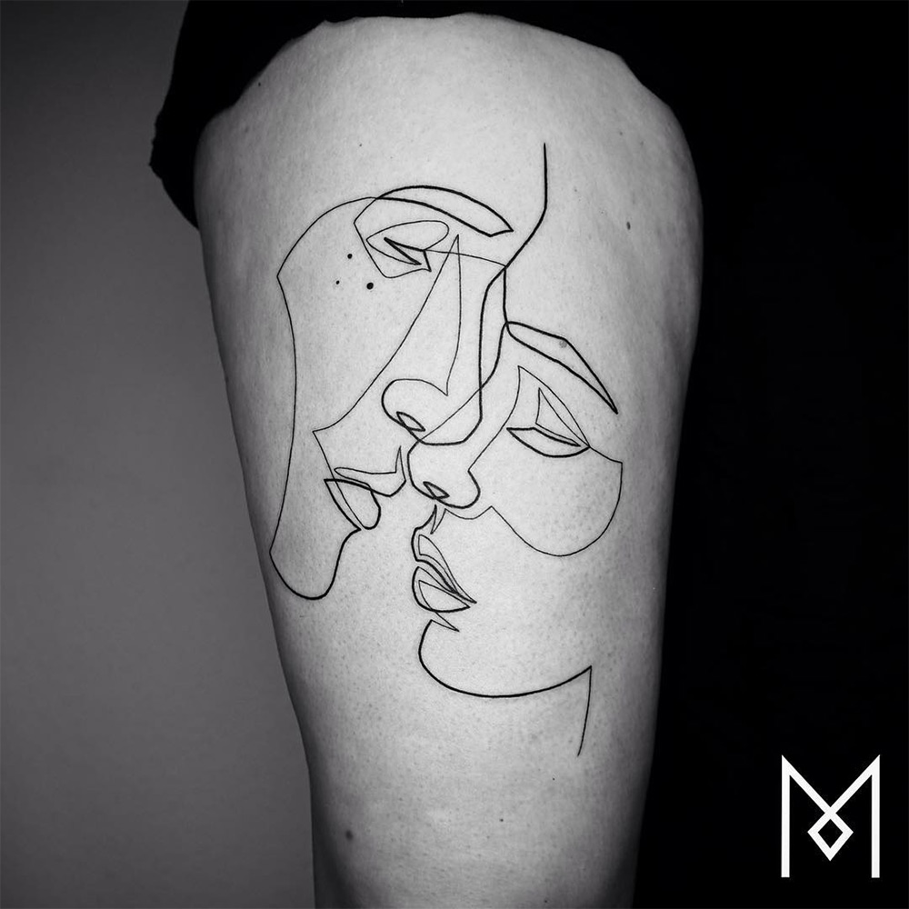 New Minimalistic Single Line Tattoos By Mo Ganji Colossal Ideas And Designs