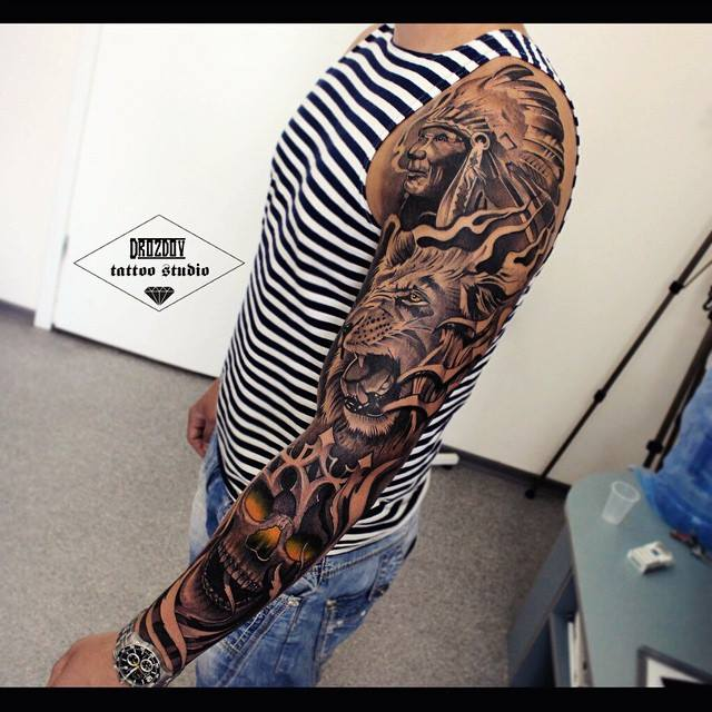 Realistic 3D Tribal Man Tiger And Skull Tattoo On Full Sleeve Ideas And Designs