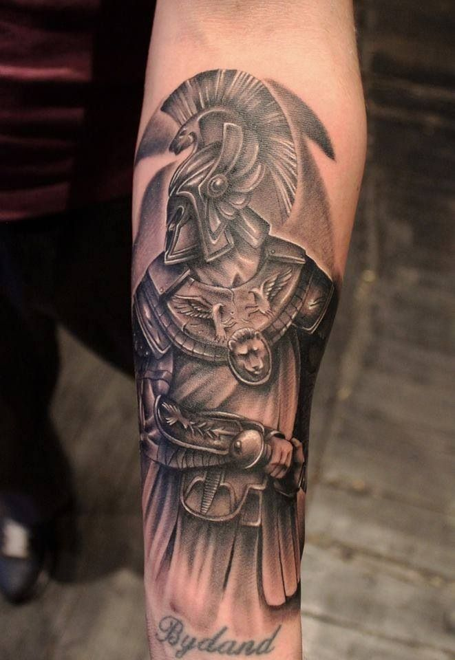 Bydand – Black Ink Achilles Tattoo On Forearm Ideas And Designs