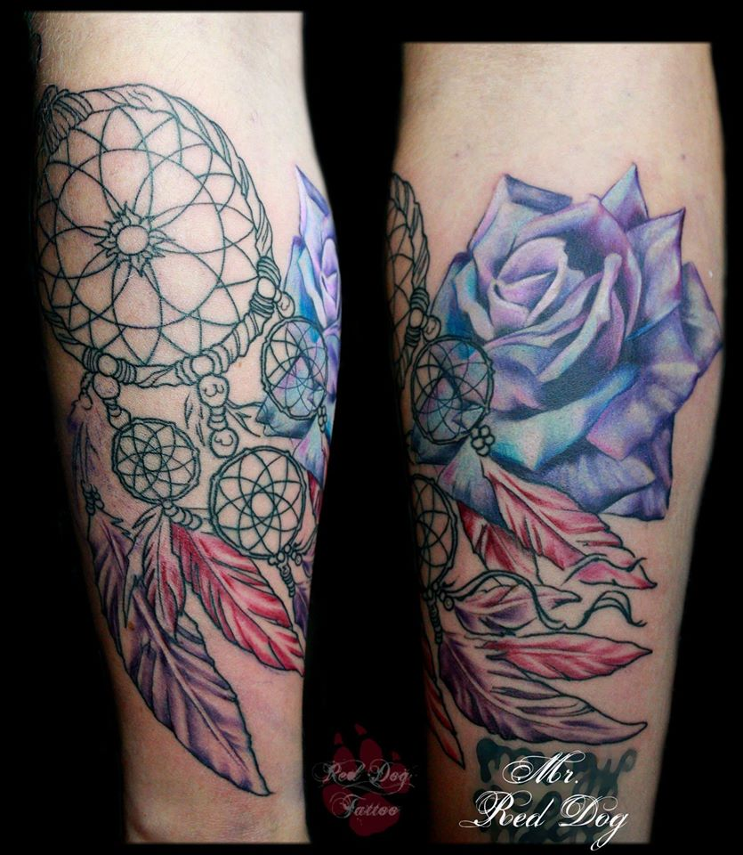 Abstract Rose With Dreamcatcher Tattoo On Leg Ideas And Designs
