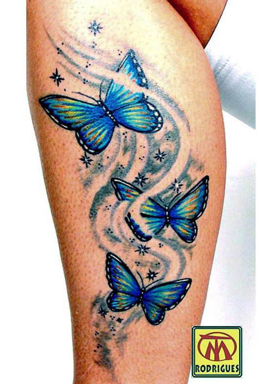 Blue And Yellow Butterfly Tattoo On Side Leg Ideas And Designs