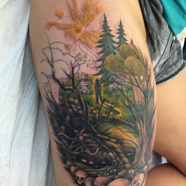 Ash Tree Tattoo On Right Thigh Ideas And Designs