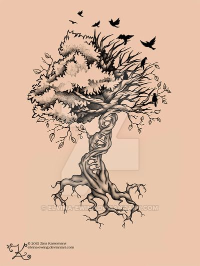 Flying Birds And Ash Tree Tattoo Sample Ideas And Designs