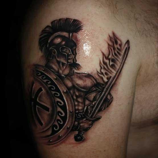 Knight Shoulder Armor Tattoo