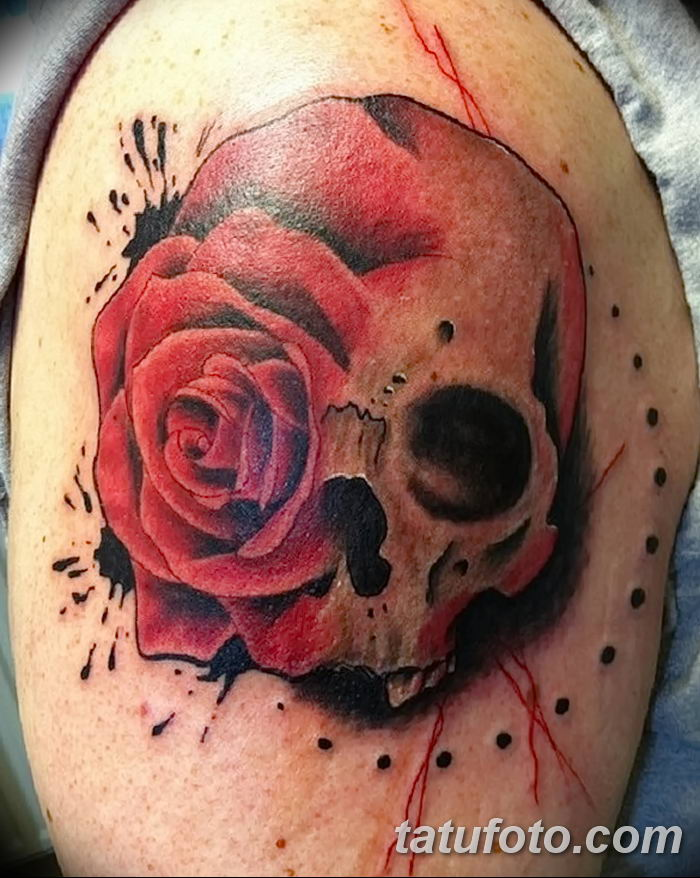 shoulder skull rose tattoo - 700×878