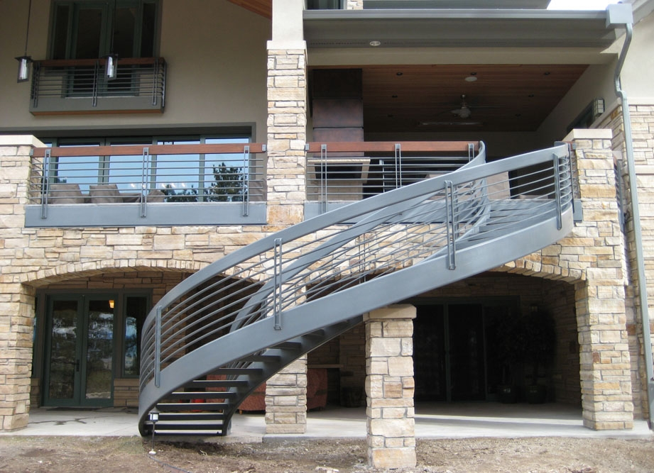 Taylored Iron Custom Iron Works Taylored For You Colorado Front   Spiral Staircase For Outside Deck   Exterior   Spiral Stair Design   Attractive   Porch   Rooftop Deck