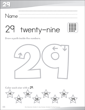 Number 29 (twenty-nine): Send-Home Pages | Printable ...