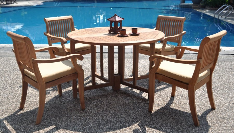 Should You Treat Teak Patio Furniture With Teak Oil    Teak Patio     5 piece grade A teak dining set 48 inch round table