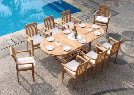 9 Pc Luxurious Grade A Teak Dining Set   Teak Patio Furniture World     Teak Dining Set  9 piece grade A teak dining set