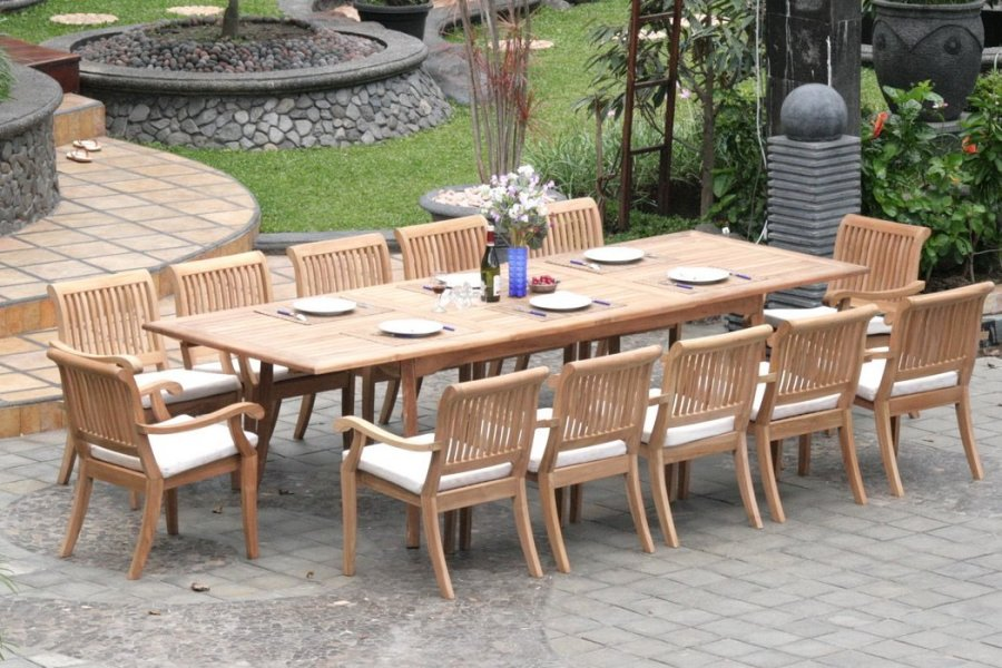 Extending Teak Patio Table vs Fixed length Dining Table   Pros and     13 piece teak dining set