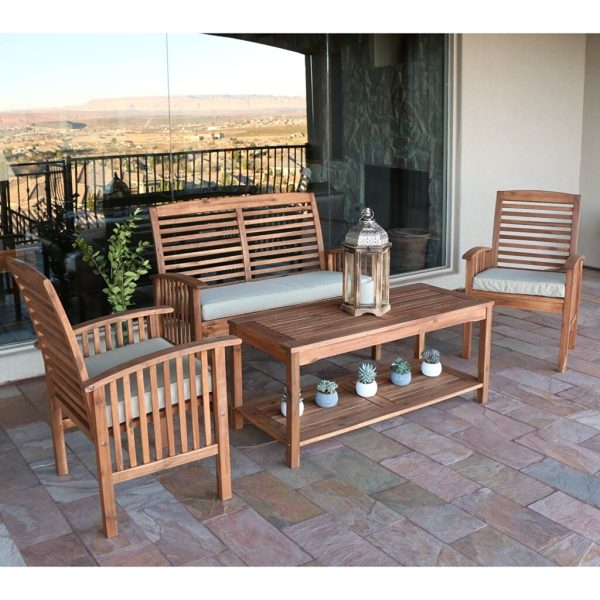 Best Acacia Wood Outdoor Furniture for 2018   Teak Patio Furniture World Walker Edison Acacia Wood 4 Piece Patio Chat Set