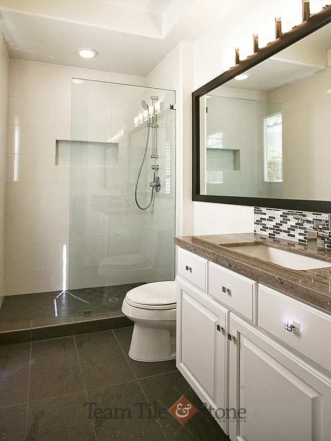 Las Vegas Bathroom Remodel Masterbath Renovations Walk in Shower   Tubs Natural stone and tile bath remodel  glass shower enclosure