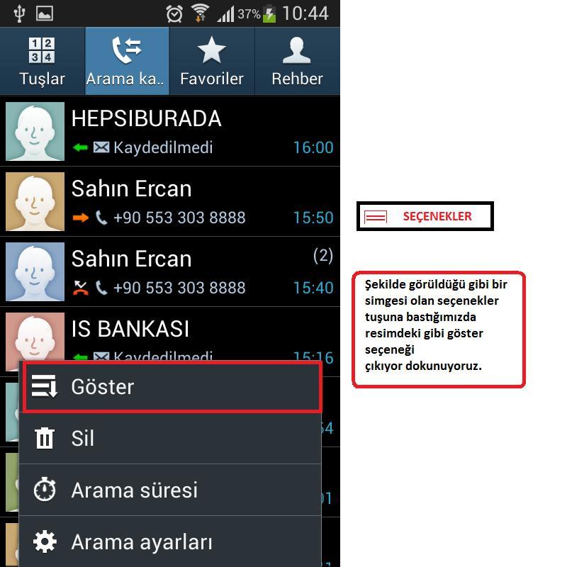 samsung note 4 arama kaydı görünmüyor