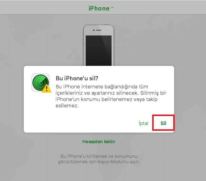 iphone takip iptal