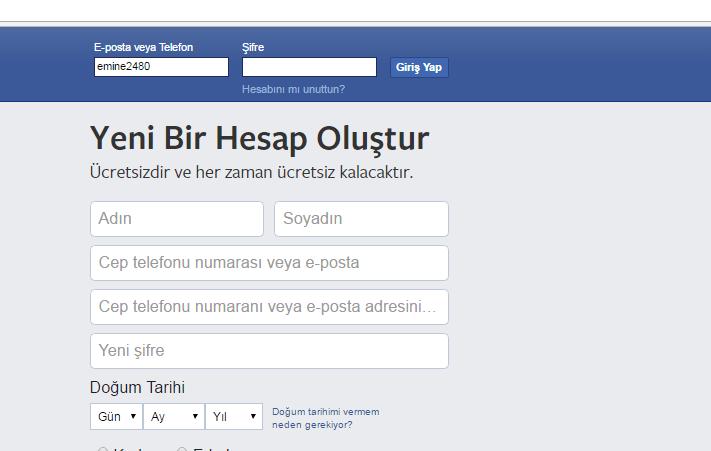 Facebook Şifresini Unuttum