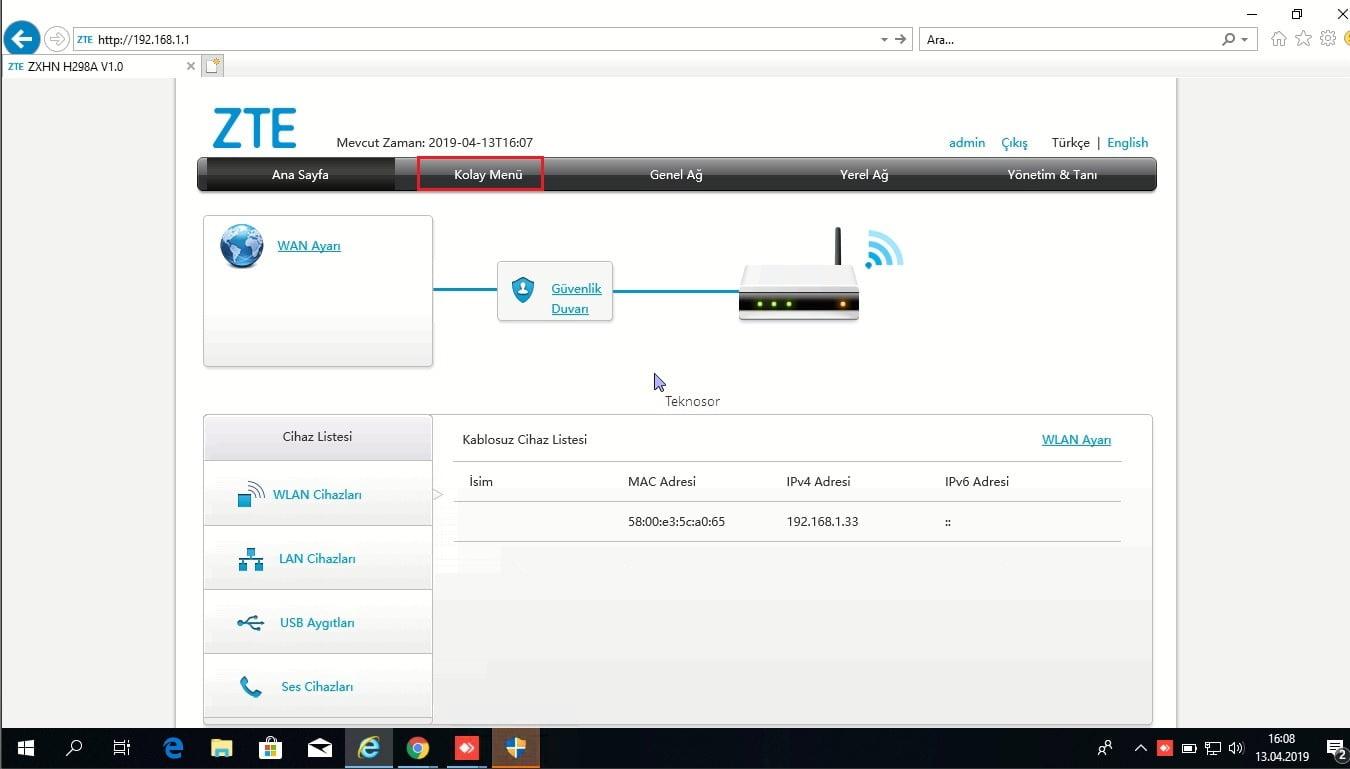 ZTE H298A Modemde Arayüz IP Adresi Nasıl Değiştirilir
