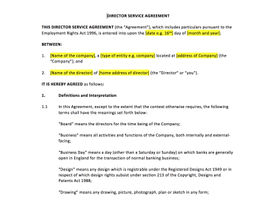 Director Service Agreement Template – UK Template ...