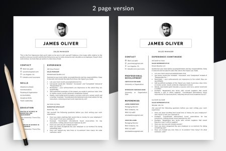 Resume Template Package  James    Modern 1 and 2 Page Templates   Bonus Sharp Resume Template  James    BONUS   3 Page Version