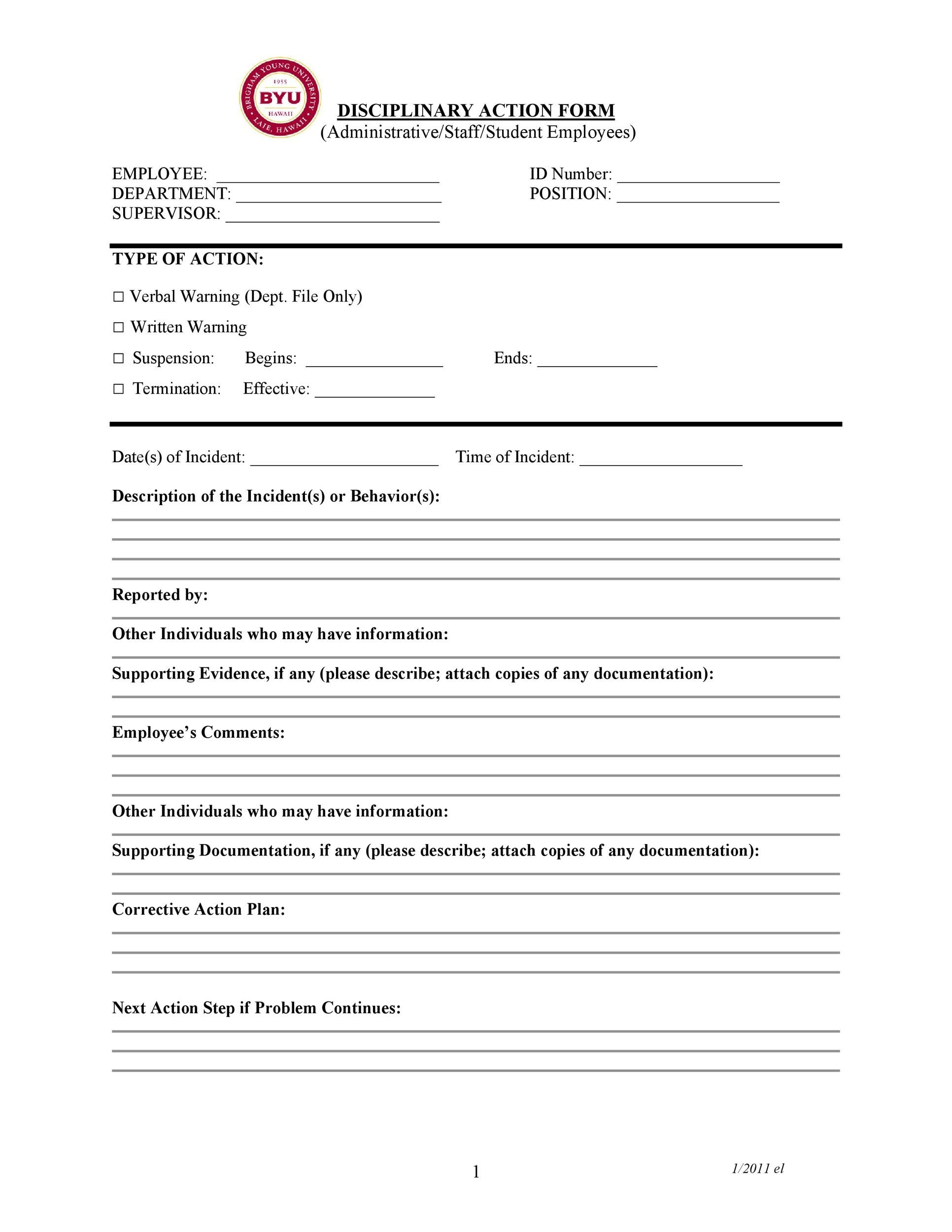 student disciplinary action form template