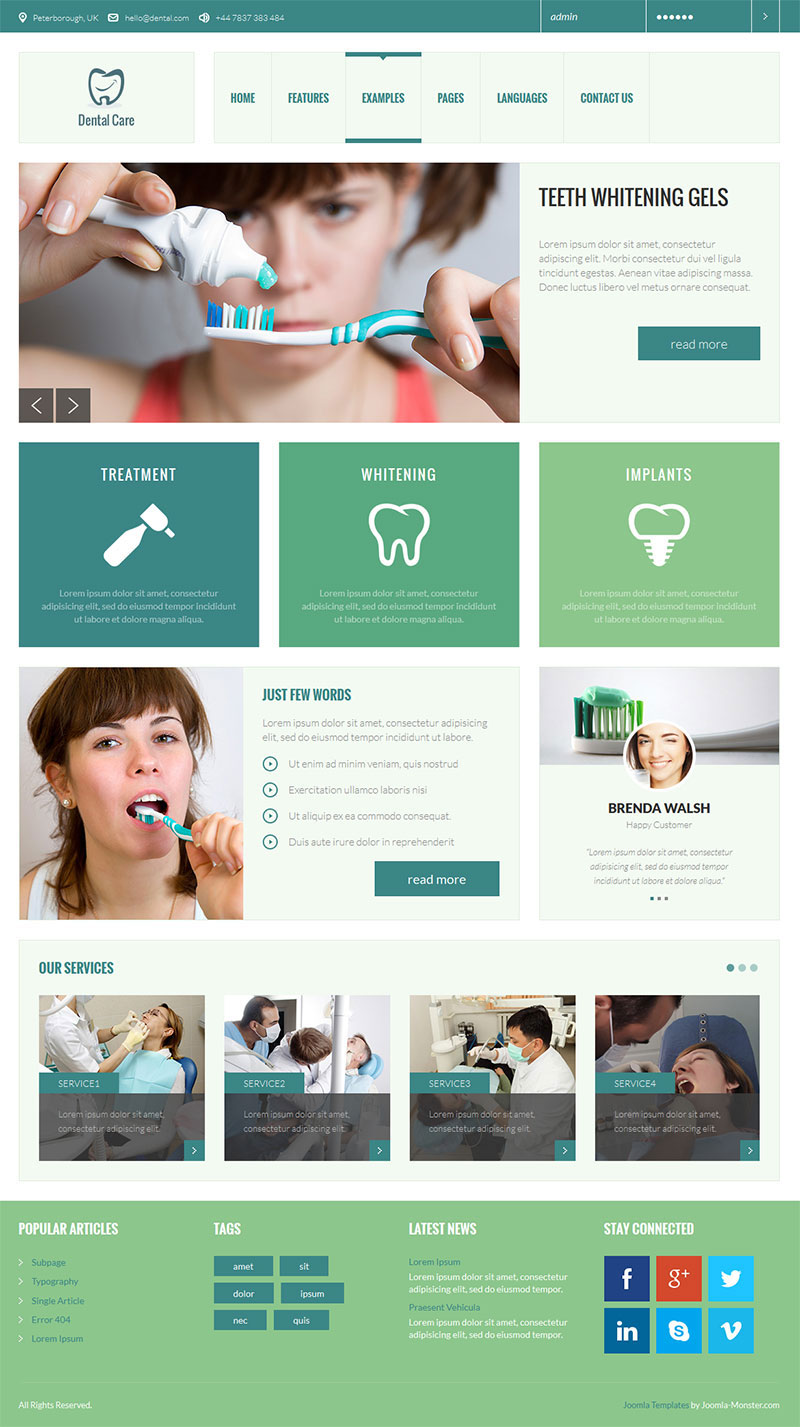 Free Joomla template   All Template s Positions Dental Theme