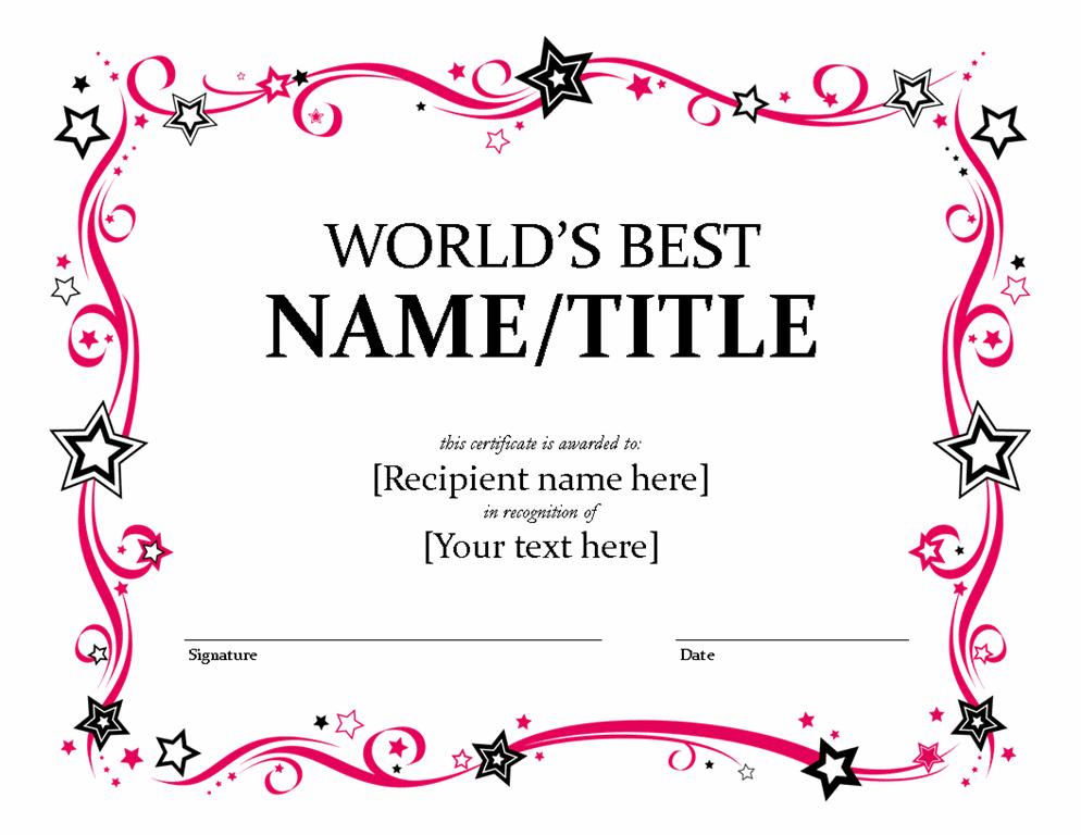 Best Teacher Ever Award Print Out