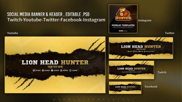 animated overlay package,preview,banner,lion head hunter,overlaytemplate.com